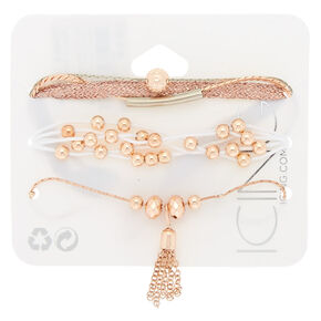 Rose Gold Metallic Statement Bracelets - 5 Pack,