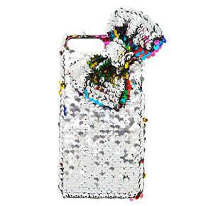 Rainbow Bow Reversible Sequin Phone Case - Fits iPhone 6/7/8 Plus,