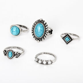 Silver Burnished Marble Stone Rings - Turquoise, 5 Pack,