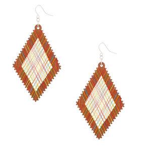 "Wood 3"" Rainbow Thread Diamond Drop Earrings,"