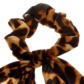 Leopard Scarf Hair Scrunchie - Brown,
