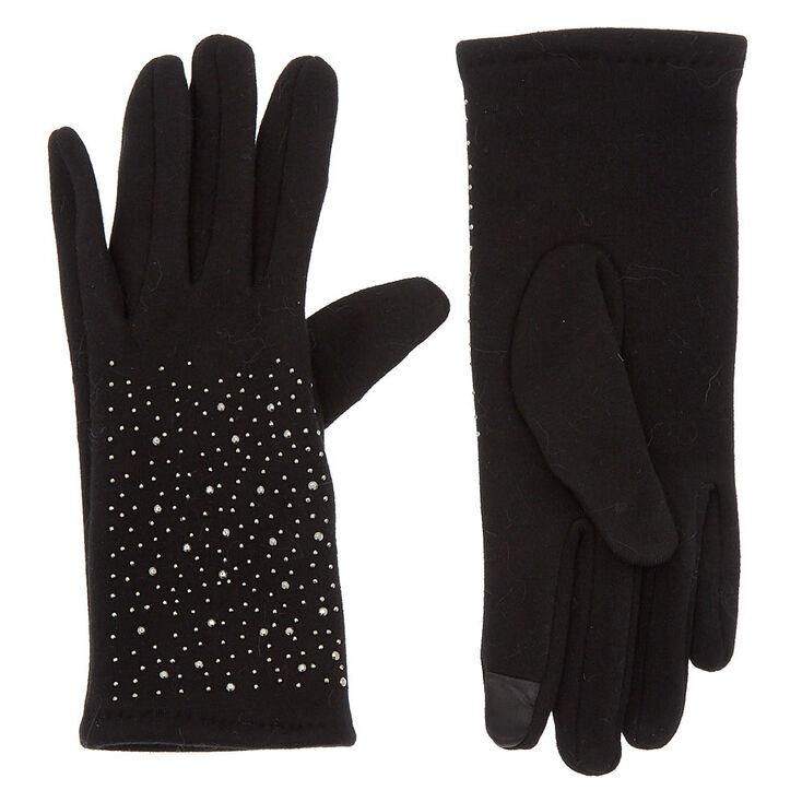 Studded Knit Fashion Gloves - Black,