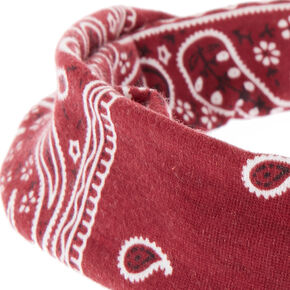 Paisley Print Twisted Headwrap - Burgundy,