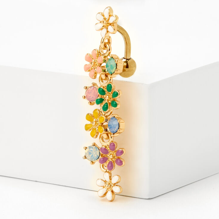 Gold 14G Rainbow Flower Top Down Belly Ring,