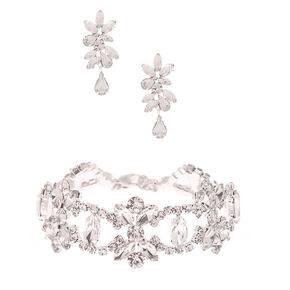Silver Rhinestone Glam Jewelry Set - 2 Pack,