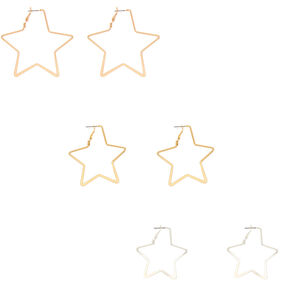 Mixed Metal Star Hoop Earrings - 3 Pack,