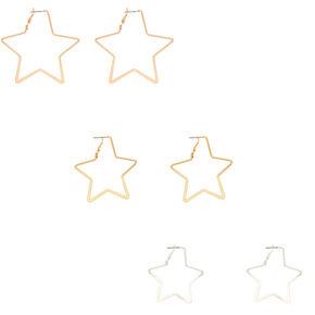 Mixed Metal Star Hoop Earrings - 3 Pack,