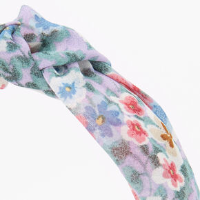 Spring Floral Knotted Headband - Lilac,
