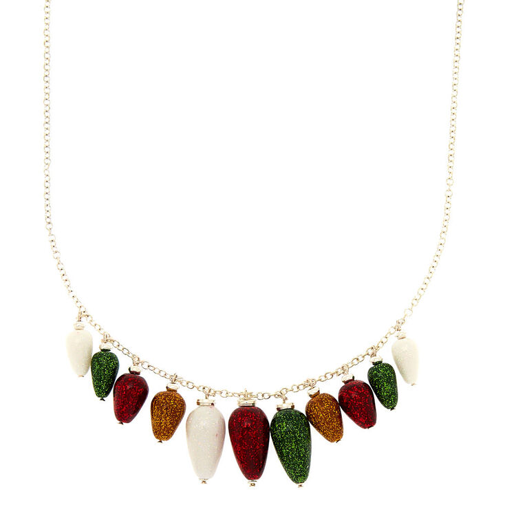 Glitter Christmas Lights Necklace,