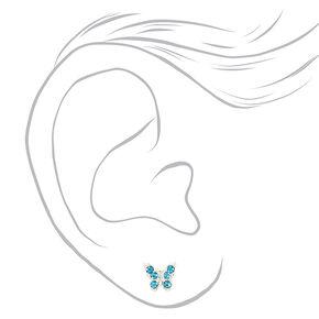 Pastel Rhinestone Butterfly Mixed Stud Earrings - 6 Pack,