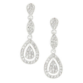 Three Tier Tear Drop Rhinestone Earrings,