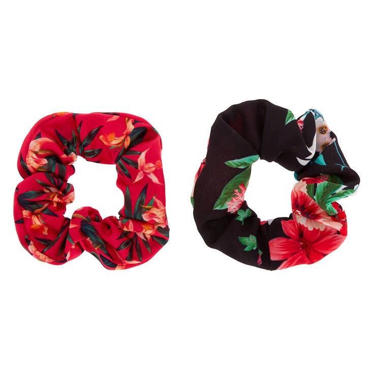 Floral Print Scrunchies - Pink, 2 Pack,