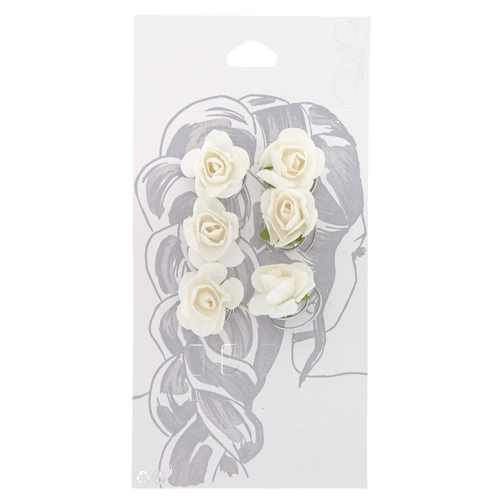 6 Pack White Rose Hair Spins,