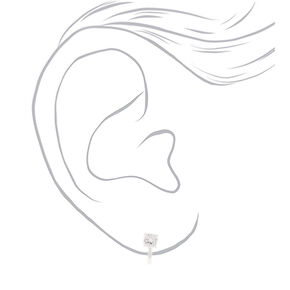 Silver Cubic Zirconia Graduated Clip On Stud Earrings - 3 Pack,