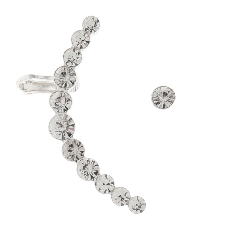 Graduated Round Crystals Ear Cuff with Post back & Stud Earring Set of 2,