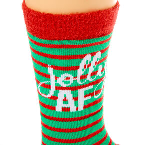 Jolly AF Striped Cozy Crew Socks - Green,