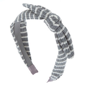Ribbed Striped Knotted Bow Headband - Gray,
