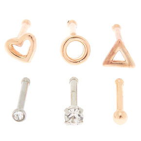 Mixed Metal 18G Geometric Nose Stud Set - 6 Pack,