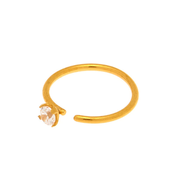 18ct Gold Plated Cubic Zirconia 20G Nose Ring,