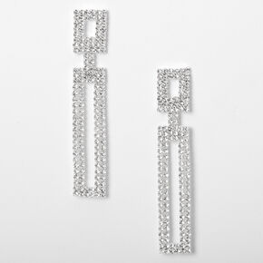 "Silver 2"" Rhinestone Double Rectangle Drop Earrings,"