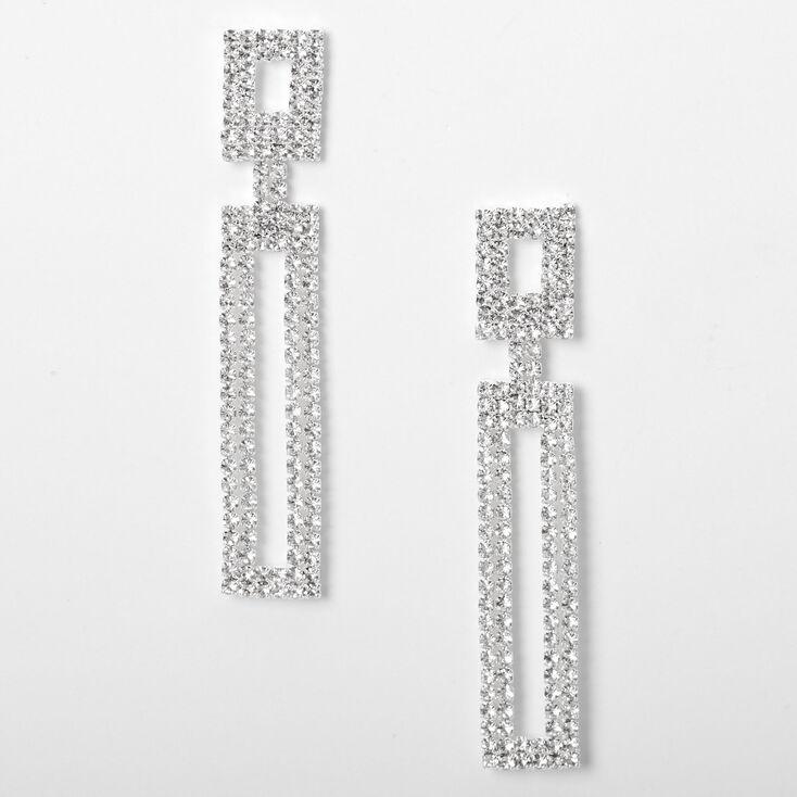 """Silver 2"""" Rhinestone Double Rectangle Drop Earrings,"""