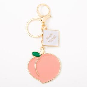 Peach Please Keychain - Gold,