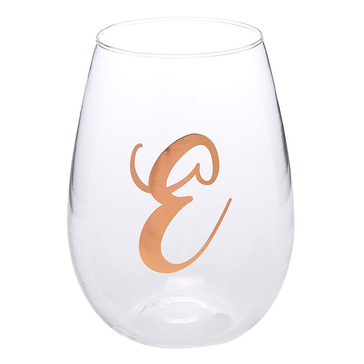 "Rose Gold-Tone ""E"" Initial Stemless Wine Glass,"