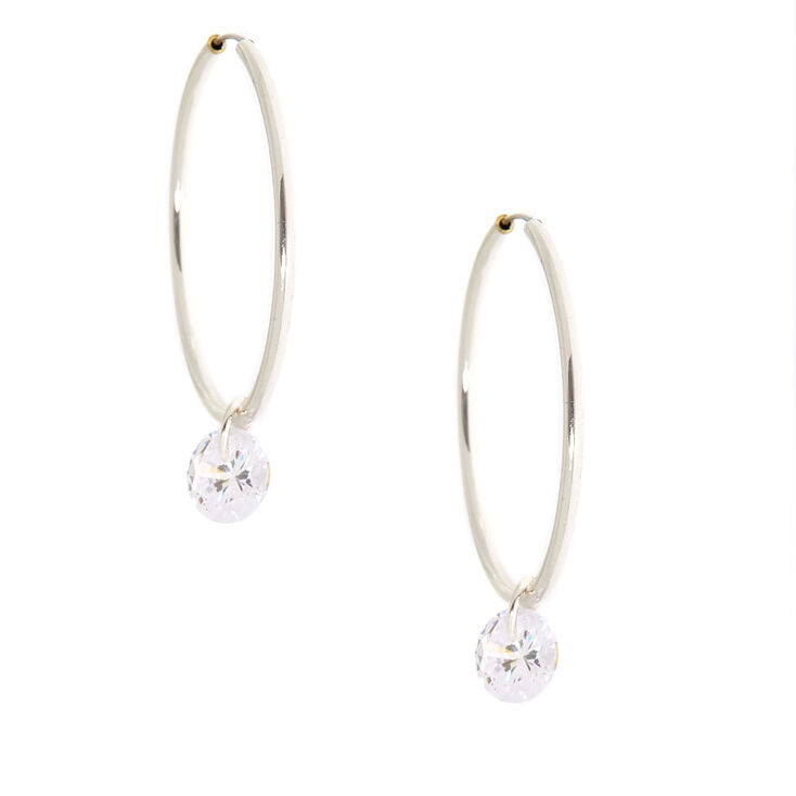 Cubic Zirconia Charm 25MM Hoop Earrings,
