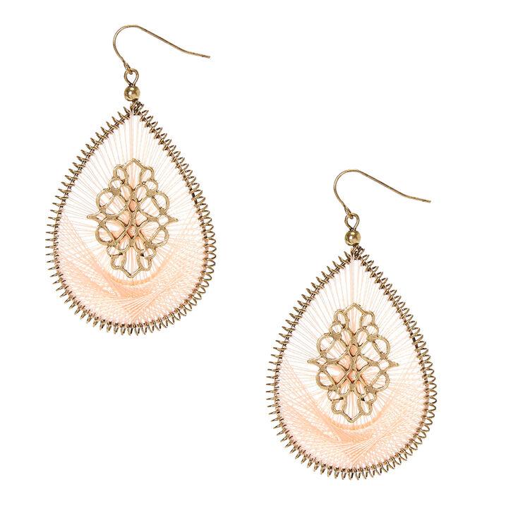 Blush Threaded Gold Tone Open Teardrop Drop Earrings,