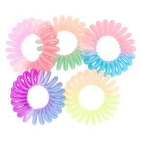 Mini Coil Hair Ties - Ombre - 5 Pack,