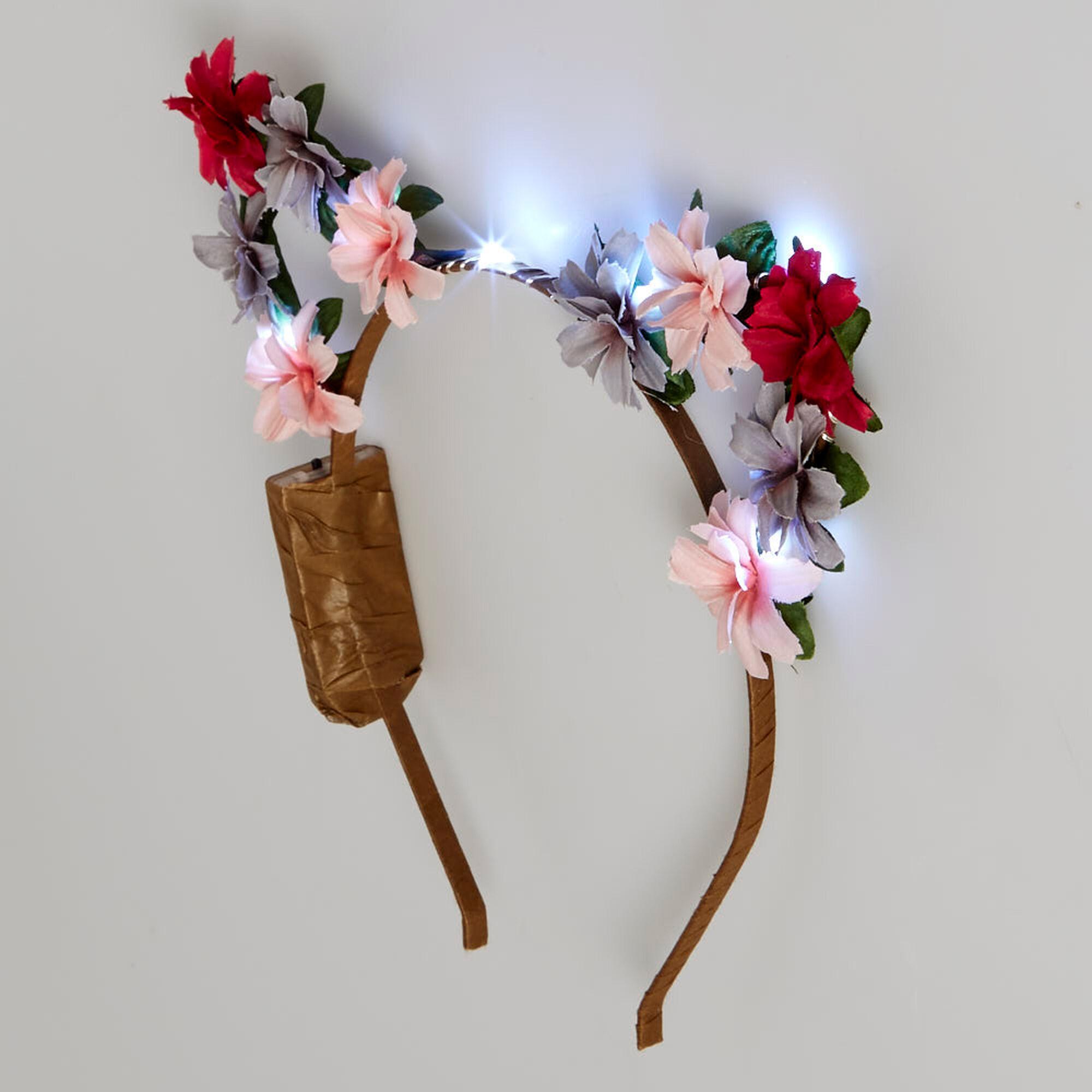 Light Up Pink Flower Cat Ear Headband Icing Us