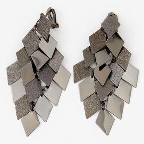 """Black 3"""" Diamond Chandelier Clip On Drop Earrings,"""