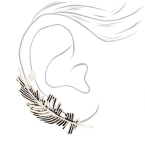 Silver Feather Mismatched Crawler Earring Set,