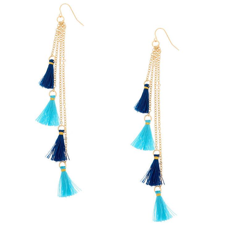 Gold Blue Tassel Drop Earrings,