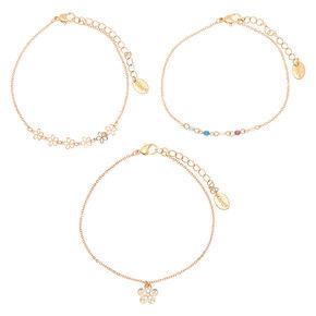 Rose Gold Pastel Floral Anklets - 3 Pack,