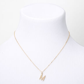 Gold Pearl Initial Pendant Necklace - M,