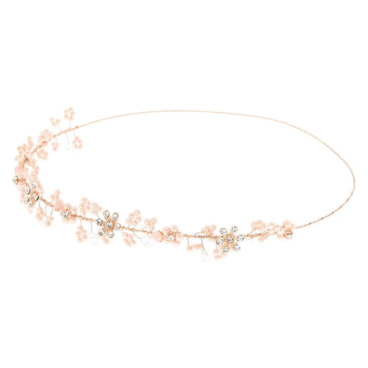 Rose Gold Pearl Flower Crown Headwrap,