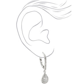 "Silver 2.5"" Cubic Zirconia Teardrop Lever Drop Earrings,"