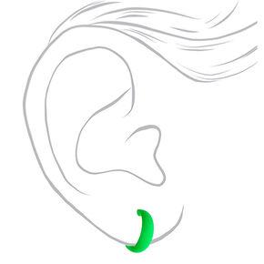 25MM Rubber Hoop Earrings - Neon Green,