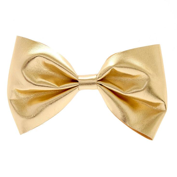 Mini Gold Glitter Bow Hair Barrette,