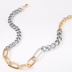 Mixed Metal Chunky Chain Link Necklace,