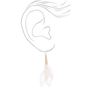 "Gold 3"" Feather Drop Earrings - White,"