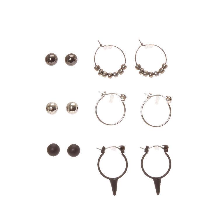 Black & Silver Edgy Stud & Mini Hoop Earrings,
