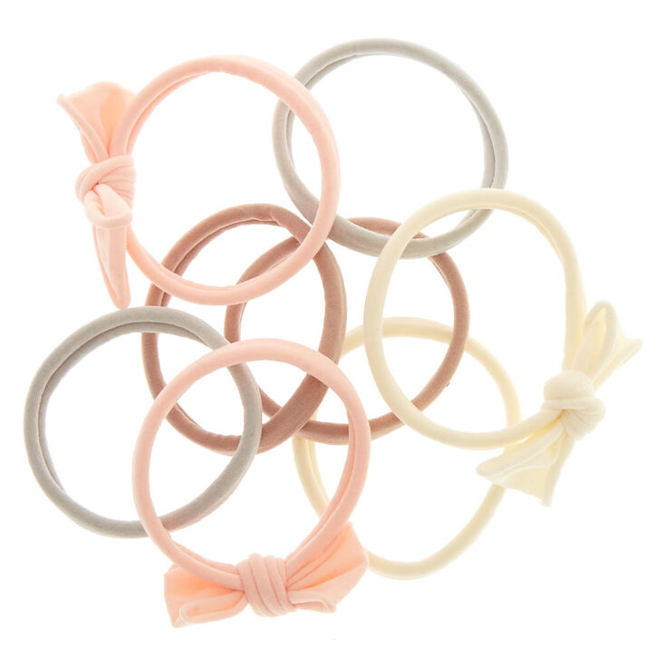 Baby Pink Bow Rolled Hair Ties 8 Pack,