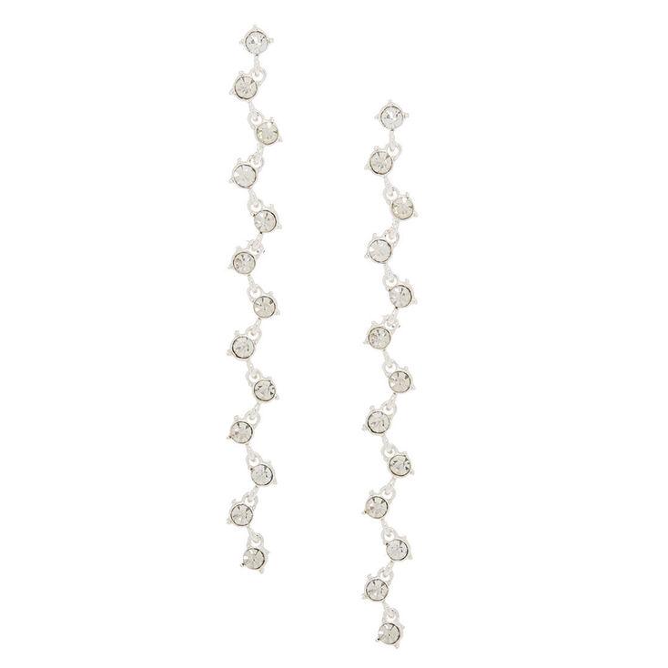 """Silver Glass Rhinestone 4"""" Zig Zag Drop Earrings,"""