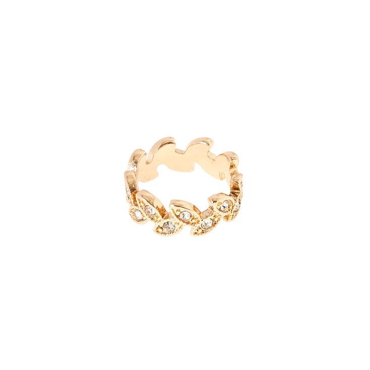 Gold-Tone Leaf Midi Ring,