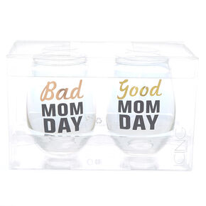 Good/Bad Mom Day Wine Glasses - 2 Pack,