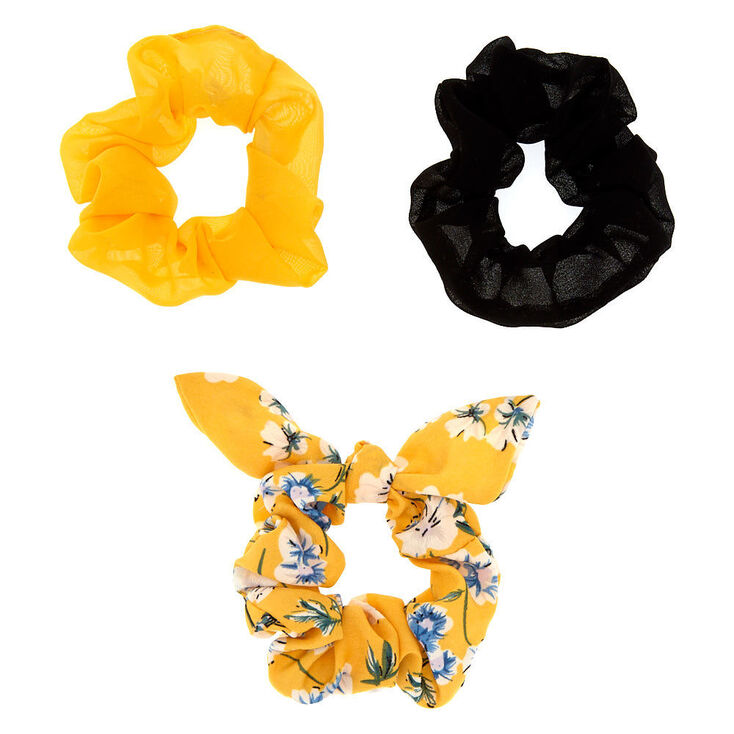 Small Floral Mix Hair Scrunchies - Yellow, 3 Pack,
