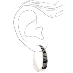 Silver 60MM Glitter Snake Print Hoop Earrings,