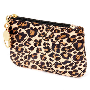 Metallic Leopard Quilted Coin Purse - Brown,